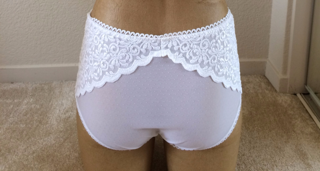 White Bralette and Panty Set Back