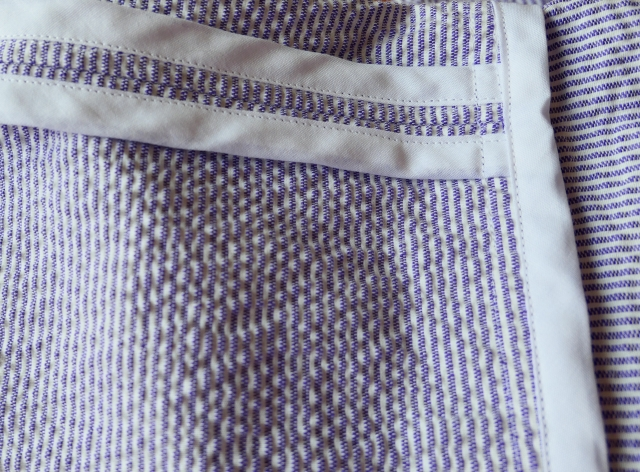 Striped Cotton Kimono Robe Seam Finishing