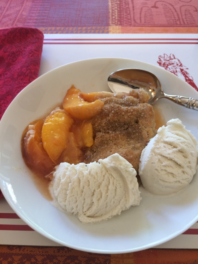 Peach Cobbler - Serving with Ice Cream