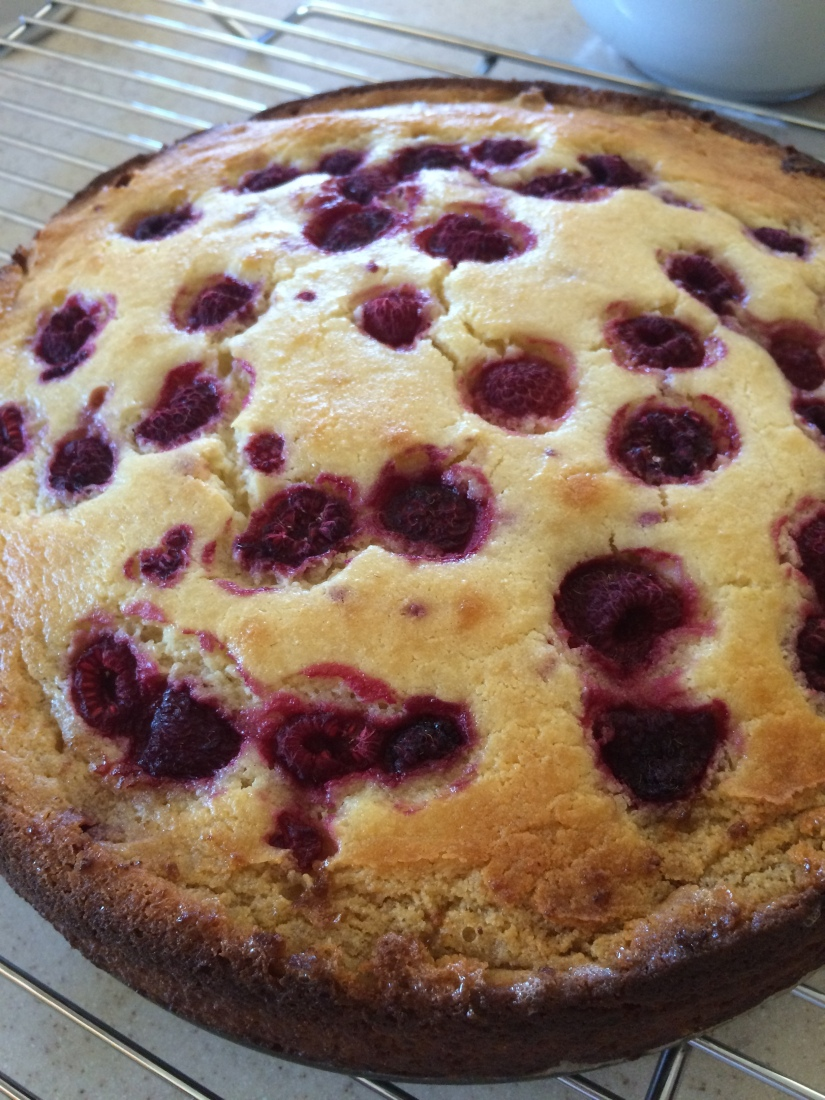 Raspberry Ricotta Cake out of the Oven
