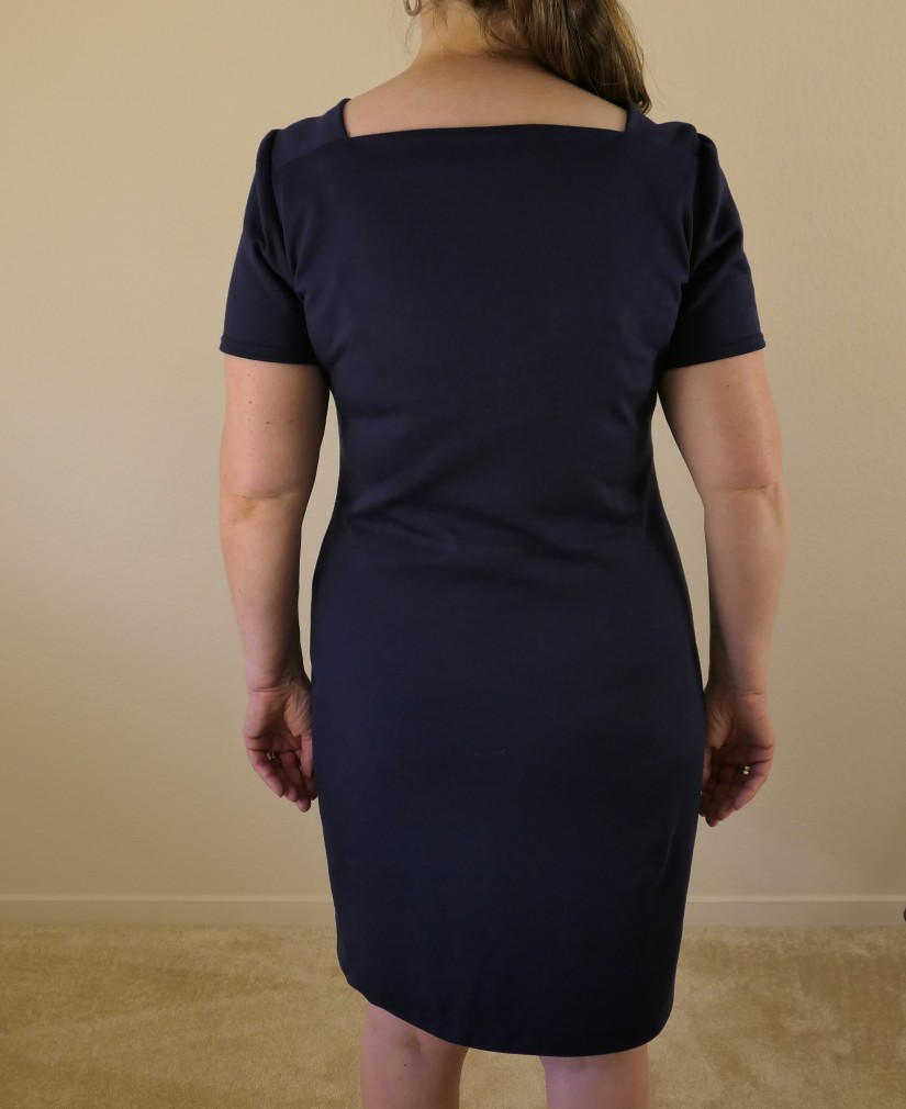 Burda 6722 Navy Dress BACK