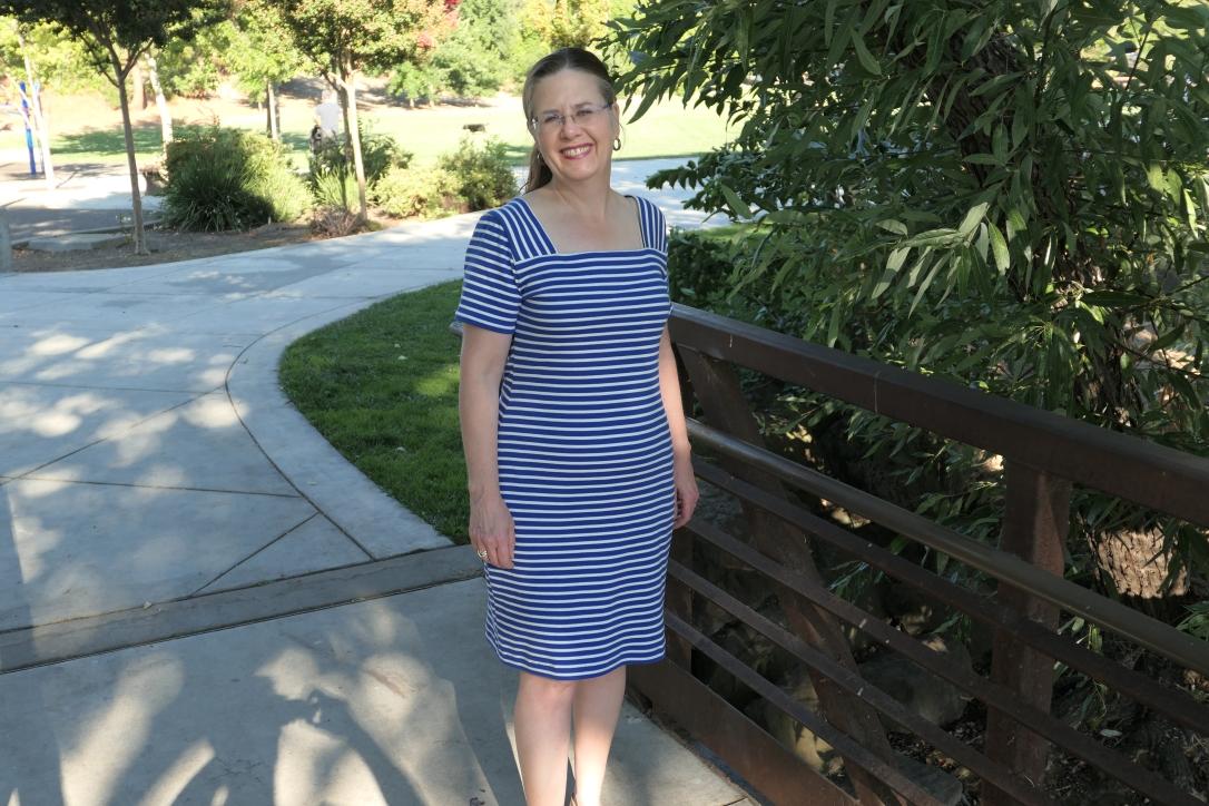Burda 6722 Striped Dress 3